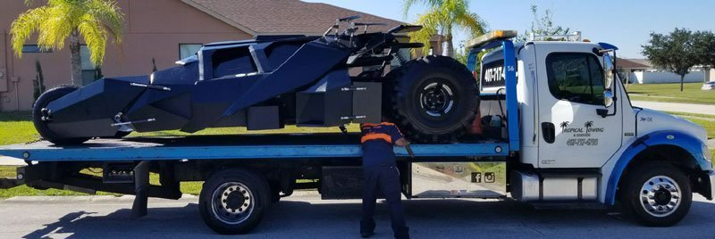 Batman's car being transported from Claifornia to Florida