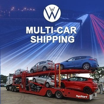 Multi Auto Shipping using a five automobiles carrier trailers on a red and white truck, car shipping quotes